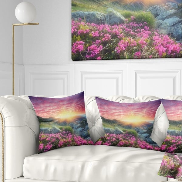 Designart 'Morning with Flowers in Mountains' Landscape Photography Throw Pillow