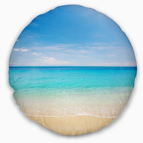Designart CU9499-12-20 Bright Blue Tropical Beach Seashore Photo Throw Pillow 12 x 20