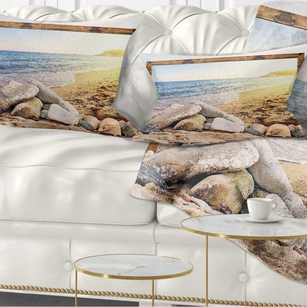 Designart 'Framed Effect Beach Rocks' Seashore Throw Pillow