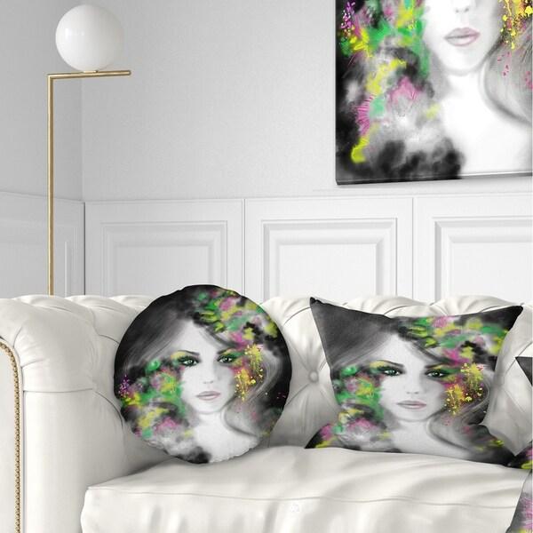 Designart 'Fantasy Portrait Woman' Abstract Portrait Throw Pillow