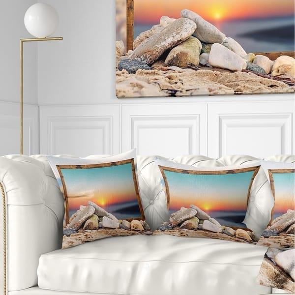 Designart Framed Effect Blurred Beach Seashore Throw Pillow On Sale Overstock 20946811
