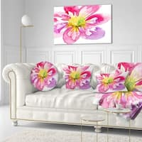Designart 'Full Bloom Pink Flower' Floral Throw Pillow