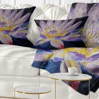 Designart 'Purple Lotus Flower' Floral Throw Pillow