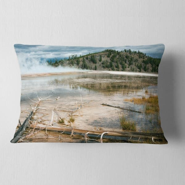 Designart Grand Prismatic Spring Landscape Photography Throw Pillow On Sale Overstock 20946888