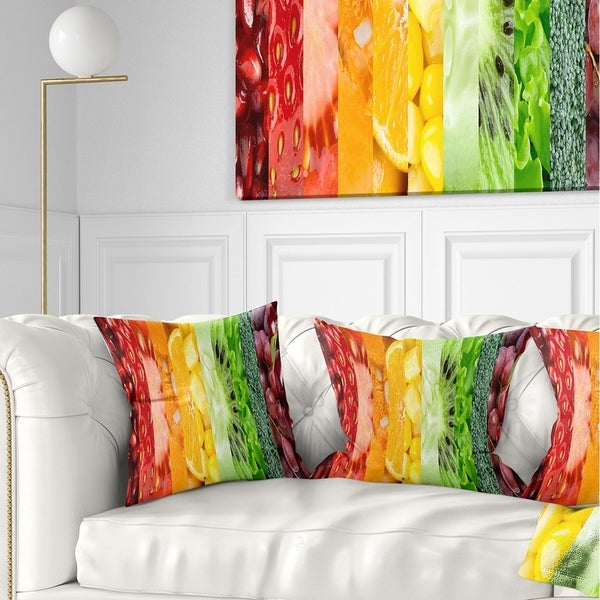 Designart 'Fruits Berries and Vegie Collage' Floral Throw Pillow