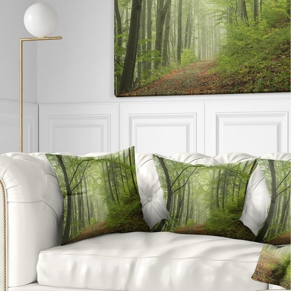 Designart 'Early Green Fall Forest' Landscape Photo Throw Pillow