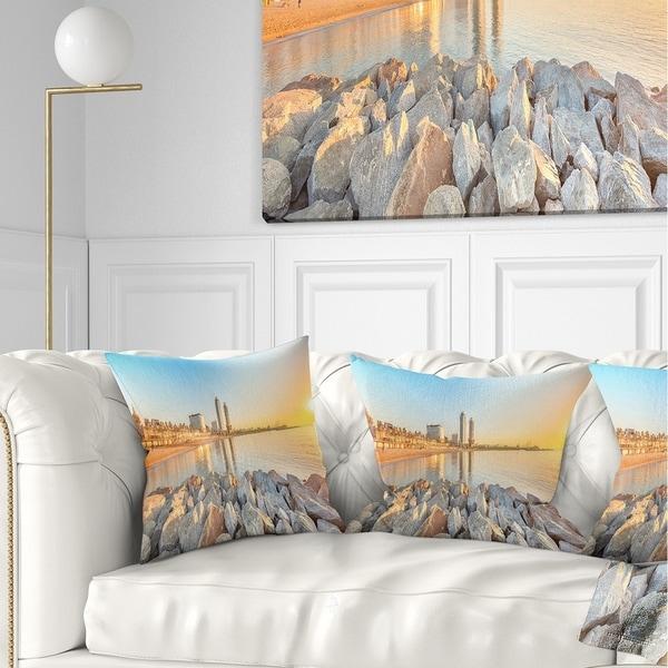 Designart 'Barceloneta Beach in Barcelona' Seashore Photo Throw Pillow