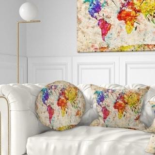Designart 'Vintage World Map Watercolor' Map Throw Pillow