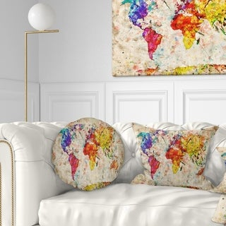Designart 'Vintage World Map Watercolor' Map Throw Pillow