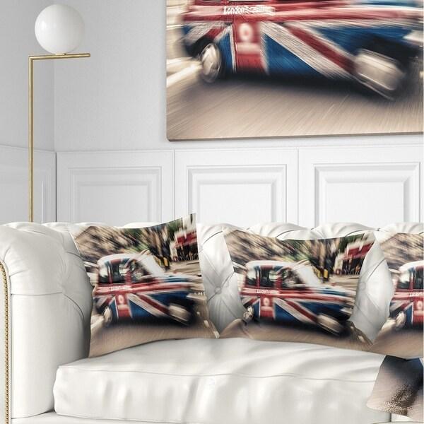 Designart 'UK Cab in London' Cityscape Photography Throw Pillow