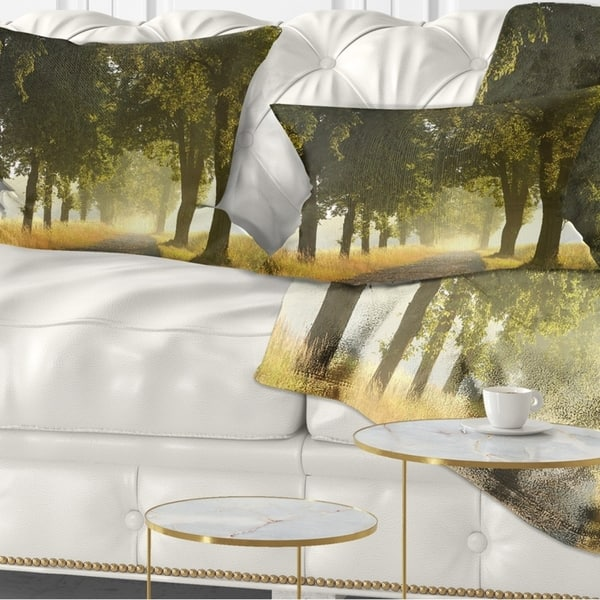 Designart Country Road Below Green Trees Landscape Photo Throw Pillow On Sale Overstock 20946992