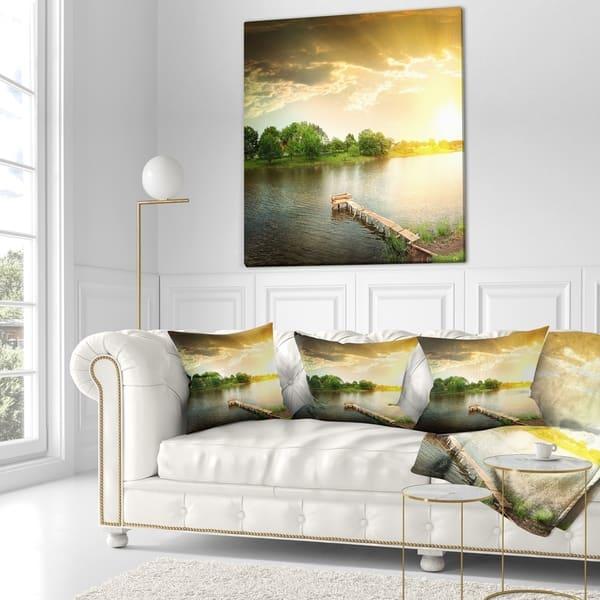 Designart Lake Under Evening Sun Landscape Photo Throw Pillow On Sale Overstock 20946996