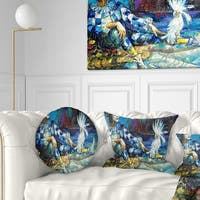 Designart 'The Harlequin and White Parrot' Contemporary Throw Pillow