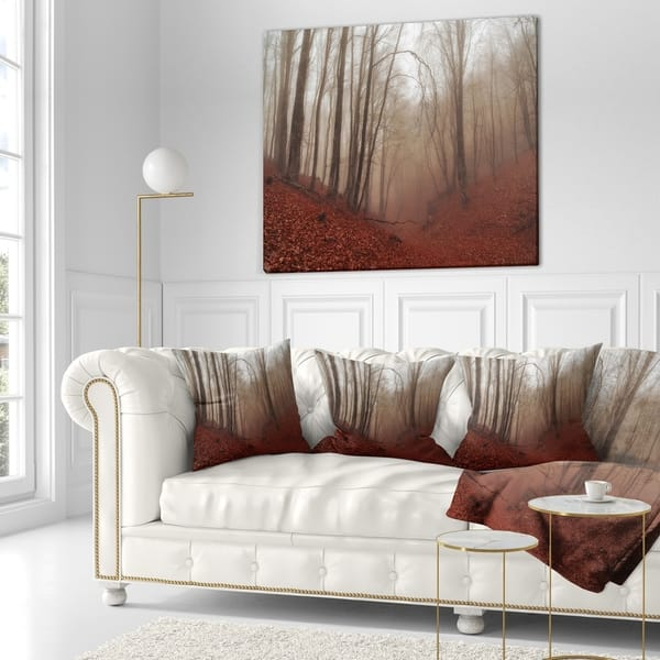 Designart Red Leaves In Foggy Fall Forest Landscape Photography Throw Pillow On Sale Overstock 20947068