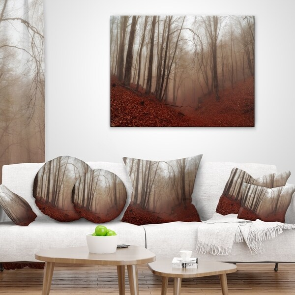 in x 18 in Sofa Throw Pillow 18 in Insert Printed On Both Side Designart CU9809-18-18 Red Leaves in Foggy Fall Forest Landscape Photography Cushion Cover for Living Room