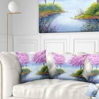 Designart 'Flowering Trees Over Lake' Landscape Printed Throw Pillow