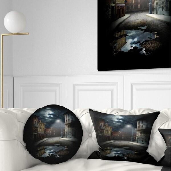 Designart 'Night Street Collage' Landscape Printed Throw Pillow