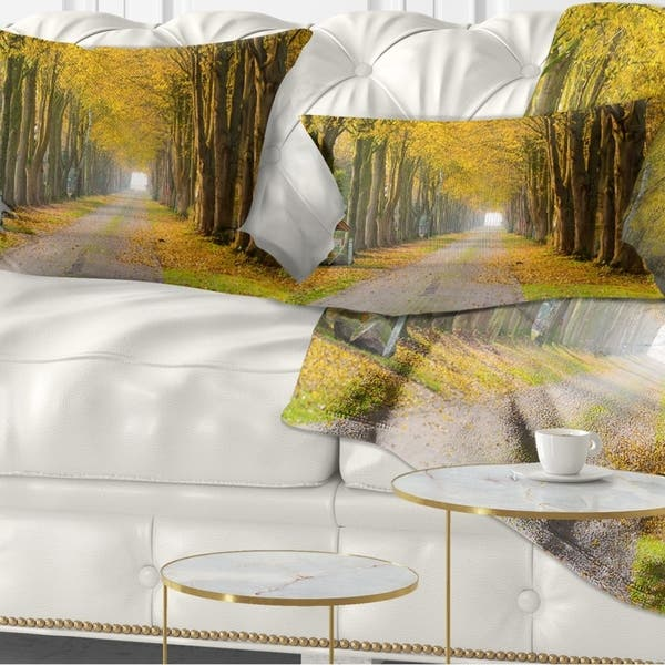 Designart Country Road Below Yellow Trees Landscape Photography Throw Pillow On Sale Overstock 20947165