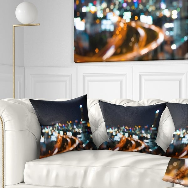 Designart 'Bangkok City at Twilight' Cityscape Throw Pillow
