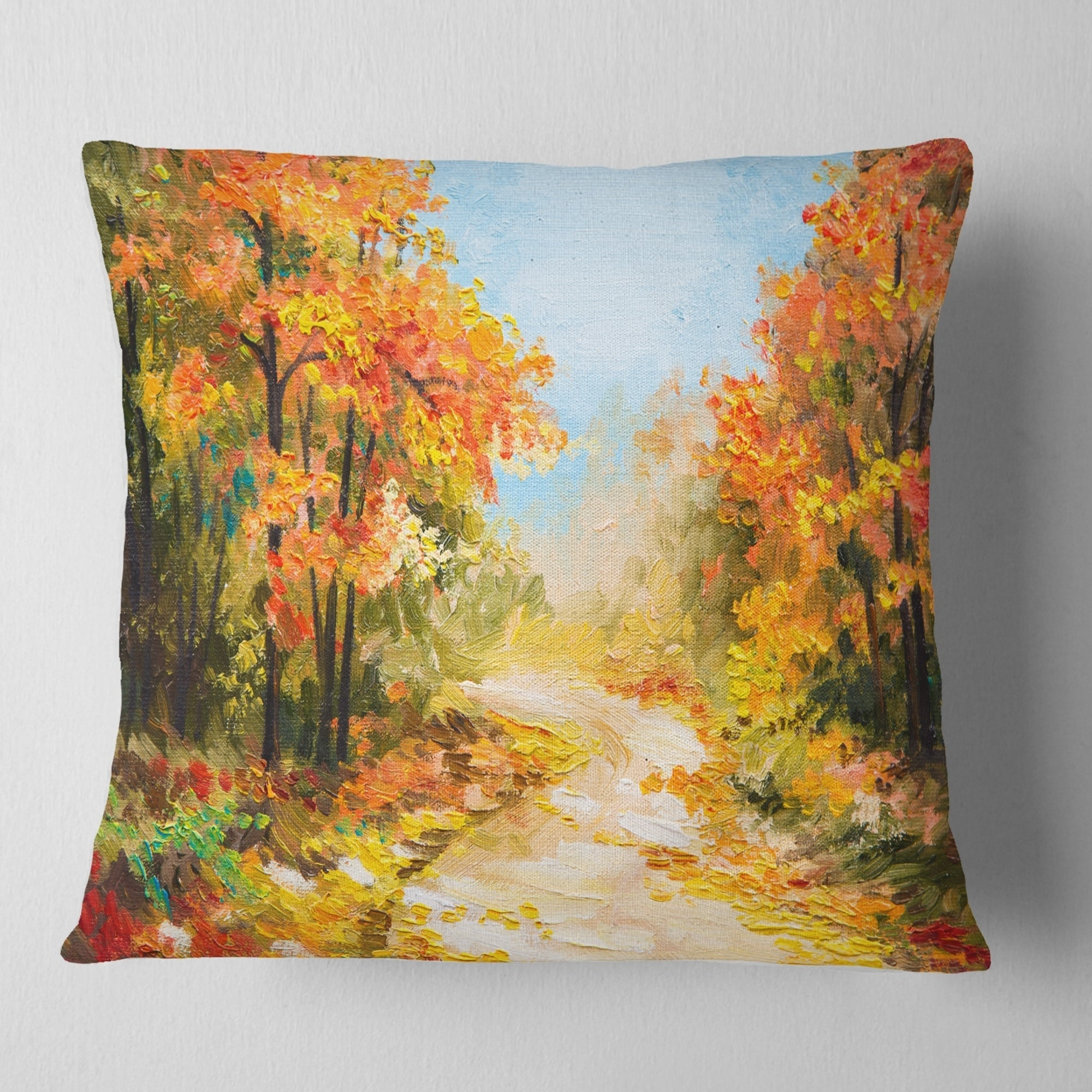 Designart Path In Autumn Forest Landscape Printed Throw Pillow Overstock 20947172