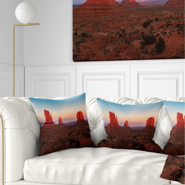 Designart 'Sunset in Monument Valley' Landscape Printed Throw Pillow