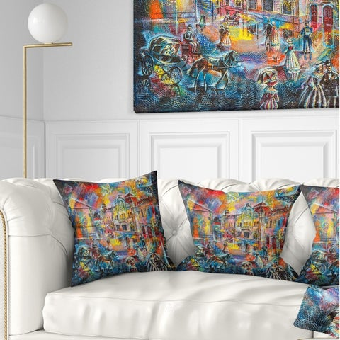Designart 'Night City with People' Cityscape Throw Pillow