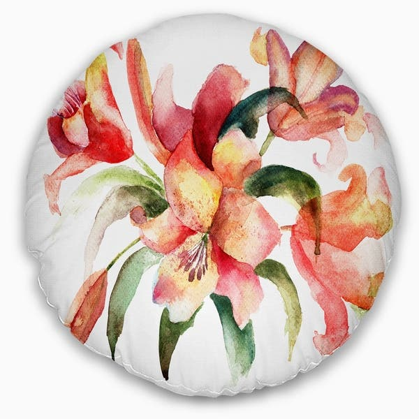 Designart Lily Flowers Watercolor Illustration Floral Throw Pillow Overstock 20947322