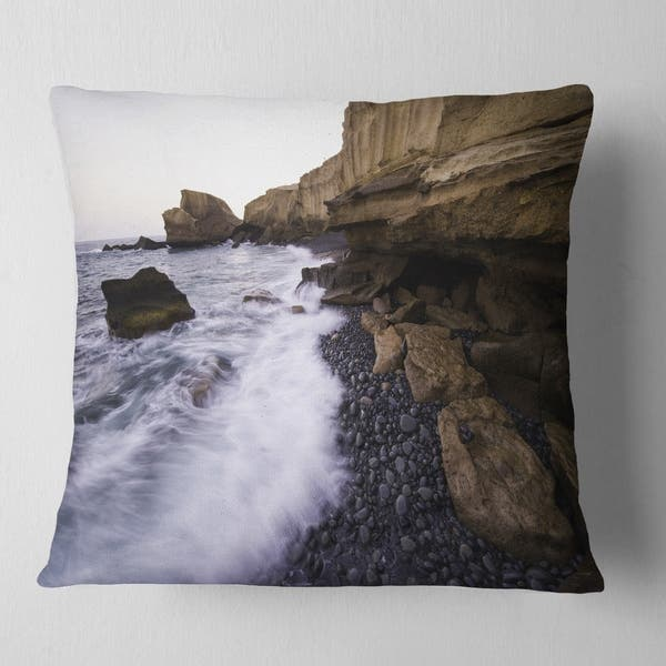 Designart Rolling Stones At Beach Seashore Photo Throw Pillow Overstock 20947350