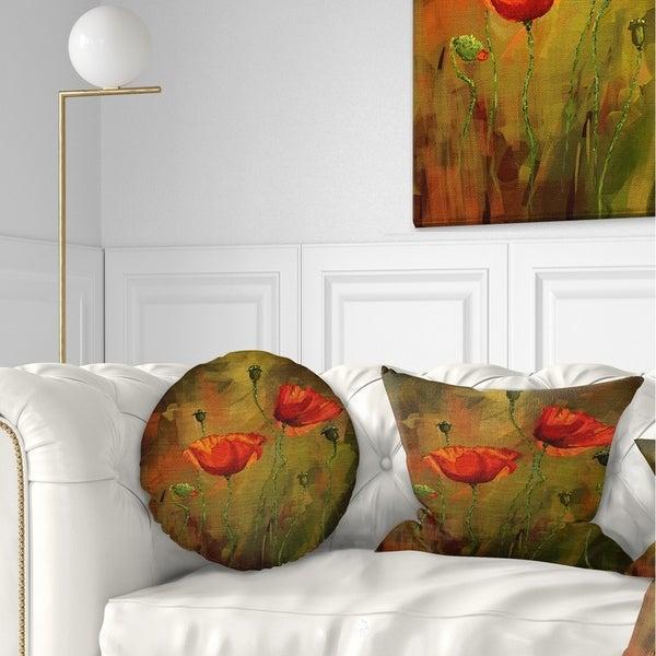Designart 'Watercolor Poppy Flowers' Floral Throw Pillow