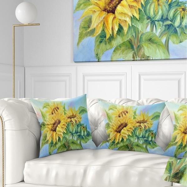 Designart 'Three Sunflowers' Floral Throw Pillow