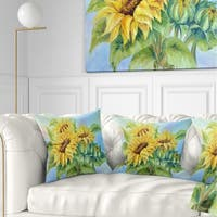 Designart 'Three Sunflowers' Floral Throw Pillow