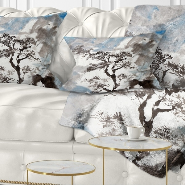Designart 'Chinese Pine Tree' Trees Throw Pillow