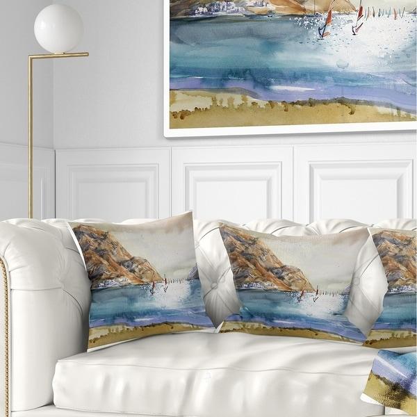 Designart 'Mountains in Sea' Seascape Throw Pillow