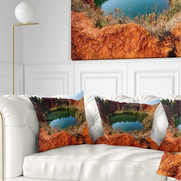 Designart 'Bauxite Mine with Lake' Landscape Photo Throw Pillow