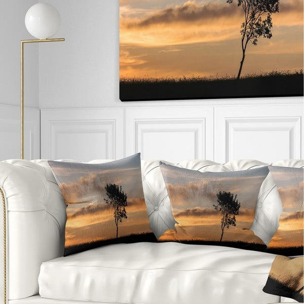 Designart 'Lonely Tree Silhouette Rightwards' Landscape Printed Throw Pillow