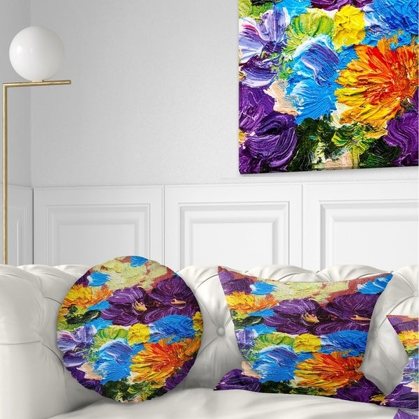 Designart 'Heavily Textured Abstract Flowers' Abstract Throw Pillow