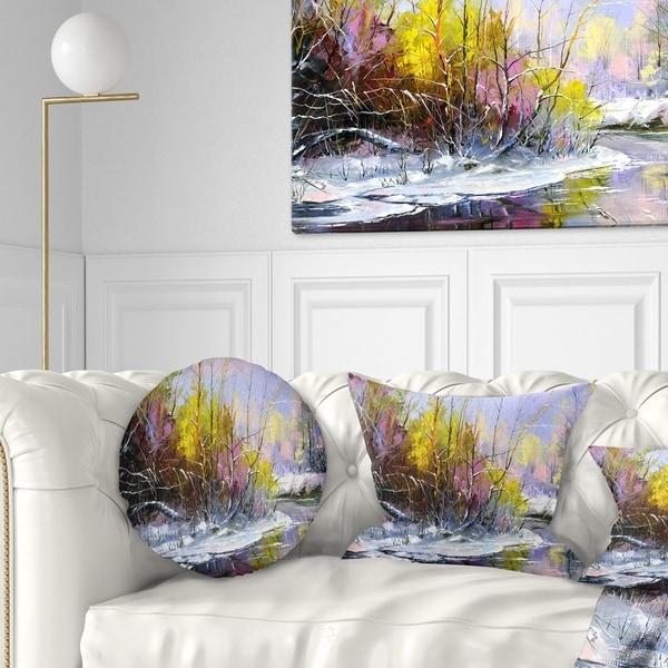 Designart 'Autumn River' Landscape Printed Throw Pillow