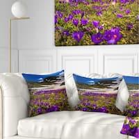 Designart 'Blooming Crocus Flowers in Rila Mountains' Landscape Printed Throw Pillow