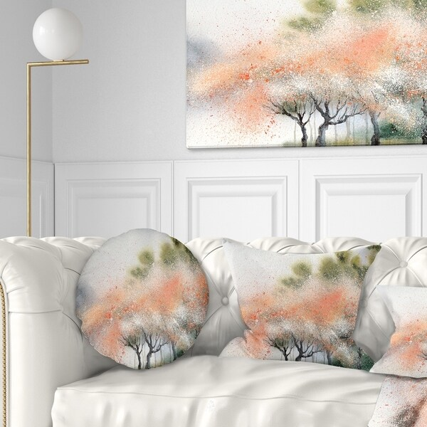 Designart 'Trees with Flowers Near River' Landscape Printed Throw Pillow