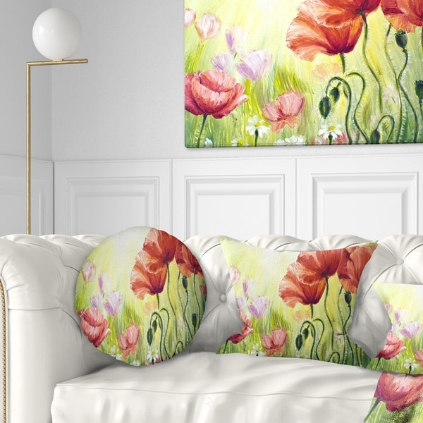 Designart 'Poppies in Morning' Floral Throw Pillow