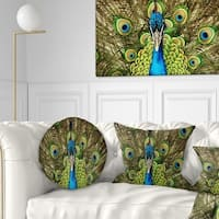 Designart 'Grand Peacock' Animal Throw Pillow