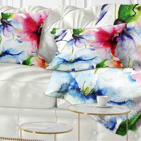 Designart 'Watercolor Flowers Everywhere' Floral Throw Pillow