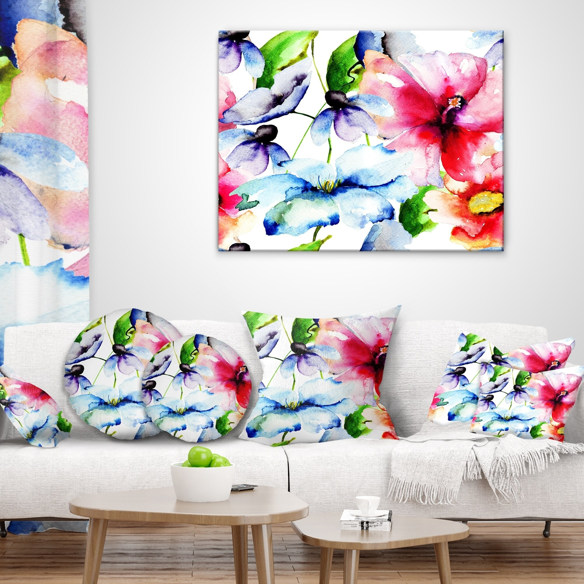 Designart Watercolor Flowers Everywhere Floral Throw Pillow On Sale Overstock 20947595
