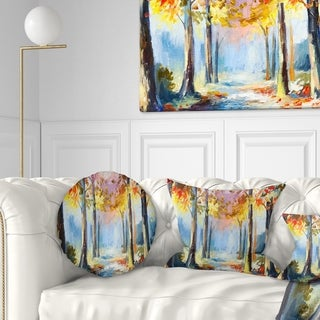 Designart 'Colorful Spring Forest' Landscape Printed Throw Pillow
