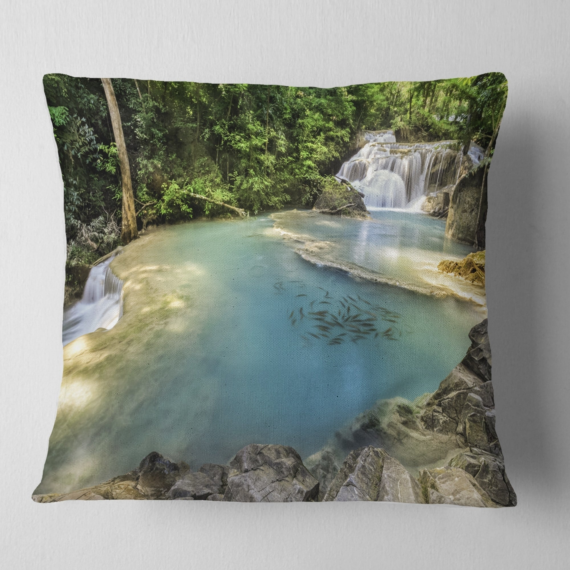 Designart Erawan Waterfall Top View Photography Throw Pillow On Sale Overstock 20947606