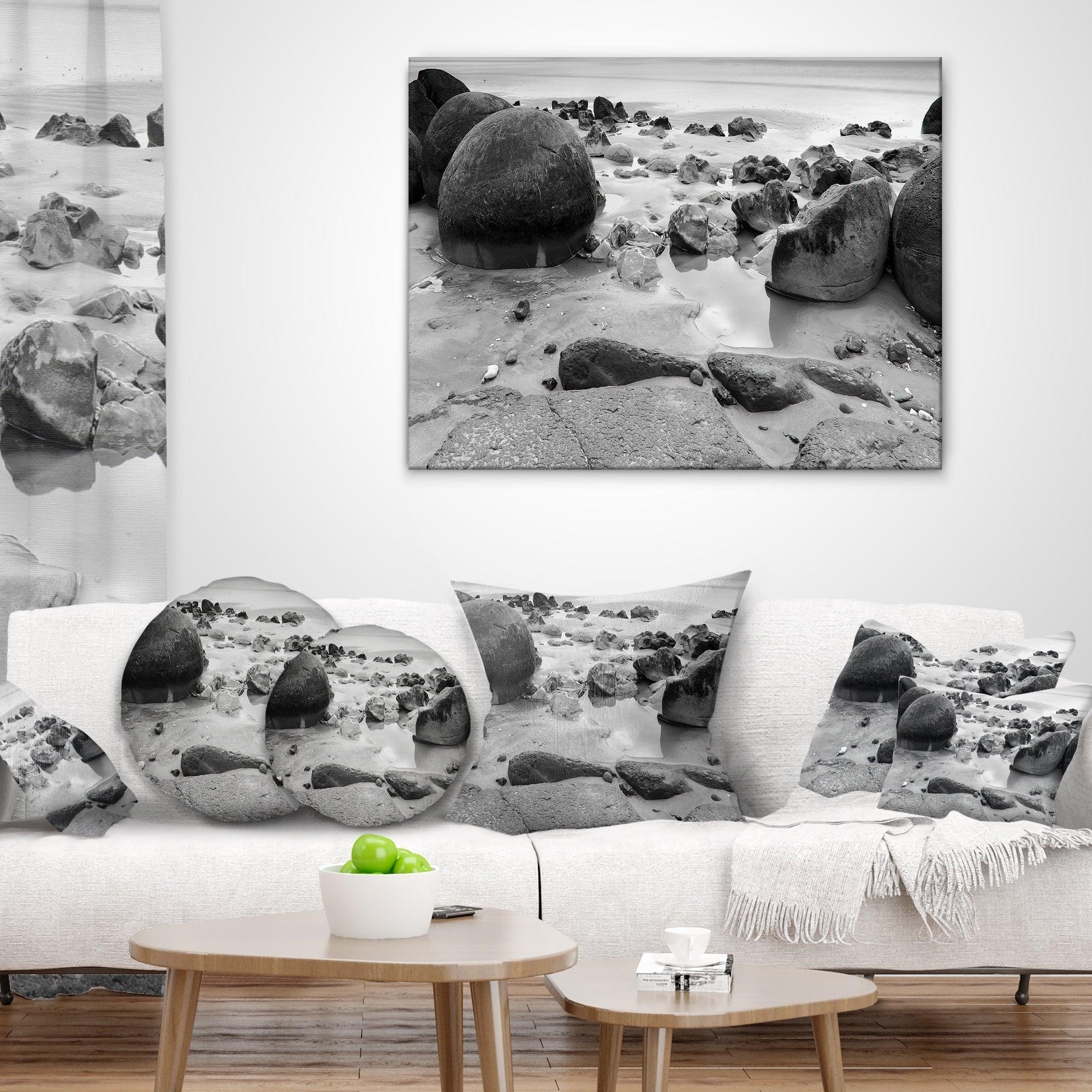 Designart CU9448-12-20 Moeraki Boulders Black n White Seashore Photo Lumbar Cushion Cover for Living Room x 20 in Insert Printed On Both Side Sofa Throw Pillow 12 in in