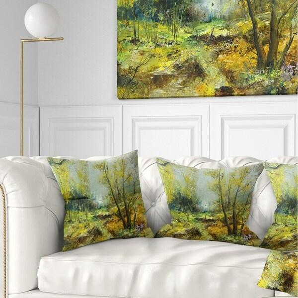 Designart 'Green Yellow Deep Forest' Landscape Printed Throw Pillow