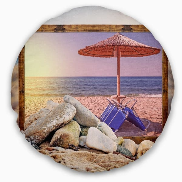 Designart Framed Effect Beach Sunset Seashore Throw Pillow On Sale Overstock 20947664
