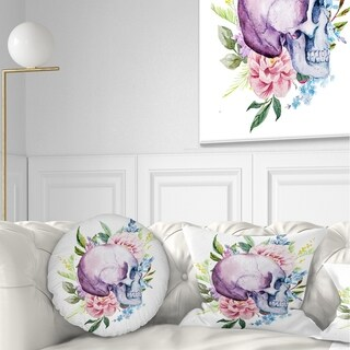 Designart 'Skull with Flower Borders' Floral Throw Pillow