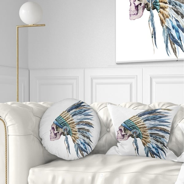 Designart 'American Native Hat and Skull' Abstract Throw Pillow